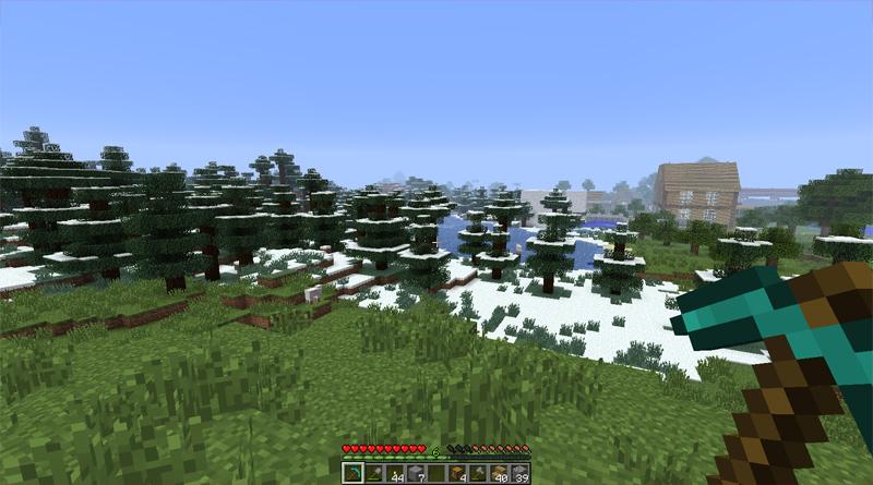 Typische Minecraft Landschaft mit Schnee