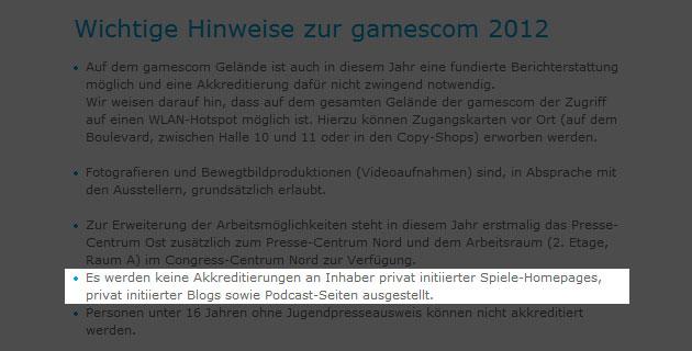 Gamescom - Keine Akkreditierung mehr für Privatleute