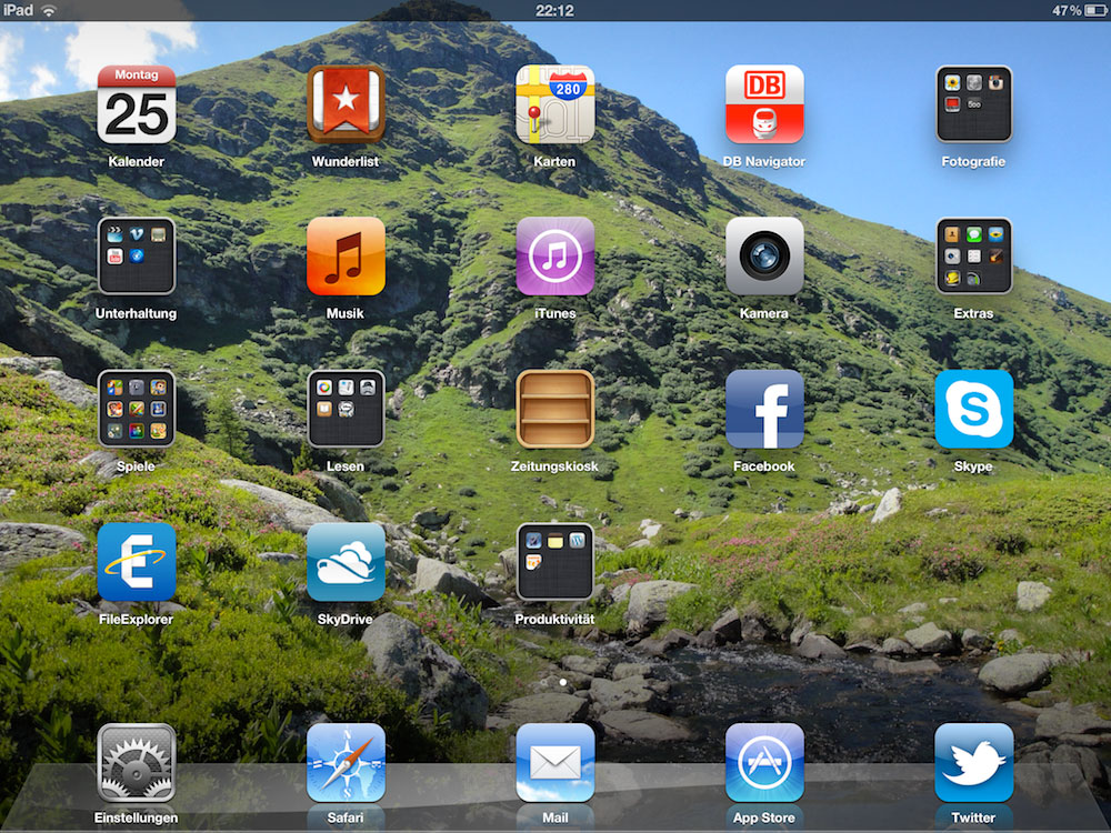 Mein iPad Homescreen