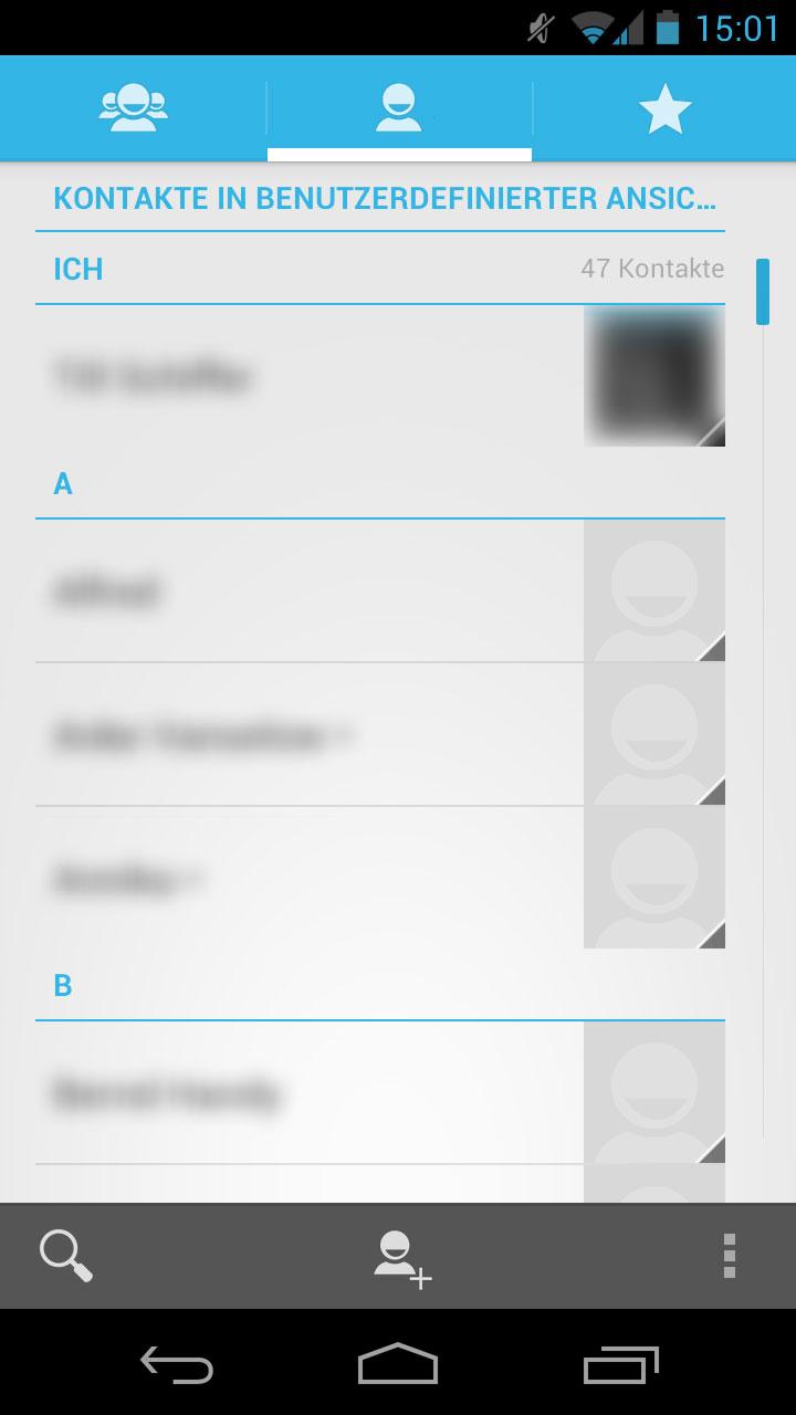 Galaxy Nexus - Kontakte Applikation